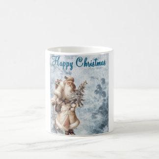 クリスマスのサンタの青いマグ コーヒーマグカップ