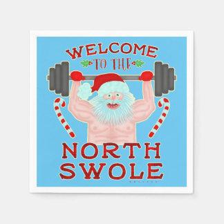 クリスマスのサンタクロースおもしろいなSwoleの重量挙げ選手 スタンダードカクテルナプキン