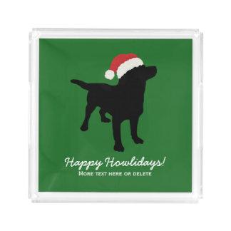 クリスマスのサンタクロースの帽子を身に着けている黒い実験室犬 アクリルトレー