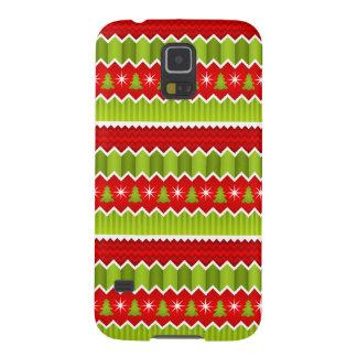 クリスマスのシェブロン赤いおよび緑のストライプなパターン GALAXY S5 ケース