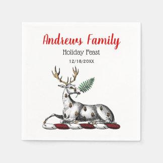クリスマスのシカの雄鹿、シダのHeraldic頂上の紋章 スタンダードカクテルナプキン