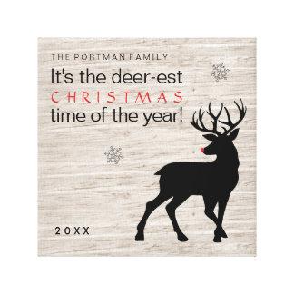 クリスマスのシカは年の一流シカ米国東部標準時刻時を加えます! キャンバスプリント