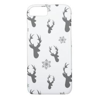 クリスマスのシカ及び雪片パターン-クリスマスのギフト iPhone 8/7ケース