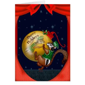 クリスマスのシマリスの漫画のメッセージカード カード