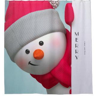クリスマスのシャワー・カーテンまたはメリークリスマスの雪だるま シャワーカーテン