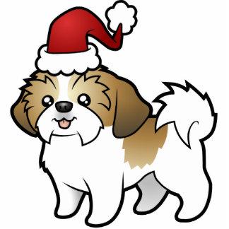 クリスマスのシーズー(犬)のTzuのオーナメント(切られる子犬) 写真彫刻オーナメント