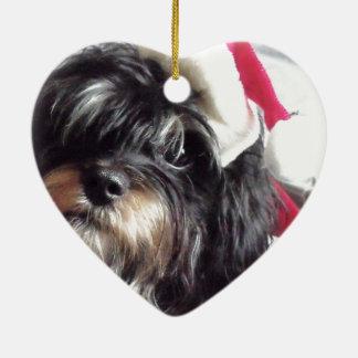 クリスマスのシーズー(犬) Poo セラミックオーナメント