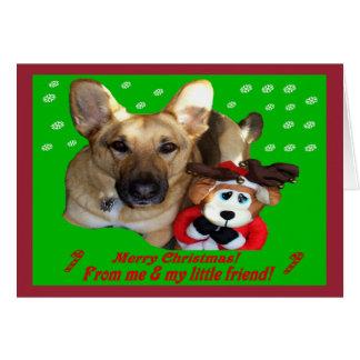 クリスマスのジャーマン・シェパード及びおもちゃのトナカイ カード