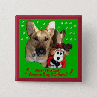 クリスマスのジャーマン・シェパード及びおもちゃのトナカイ 5.1CM 正方形バッジ