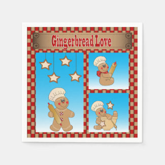 クリスマスのジンジャーブレッドのクッキー愛 スタンダードカクテルナプキン