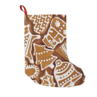 クリスマスのジンジャーブレッドの休日のクッキー スモールクリスマスストッキング