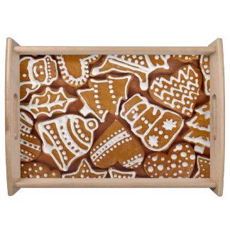 クリスマスのジンジャーブレッドの休日のクッキー トレー