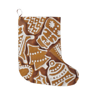 クリスマスのジンジャーブレッドの休日のクッキー ラージクリスマスストッキング