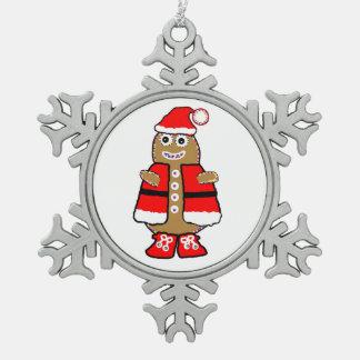 クリスマスのジンジャーブレッドマンのオーナメント スノーフレークピューターオーナメント