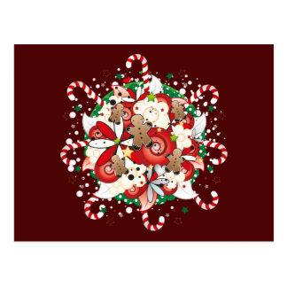 クリスマスのジンジャーブレッドマンの花束 ポストカード