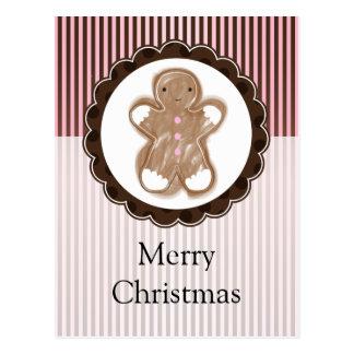 クリスマスのジンジャーブレッドマン ポストカード