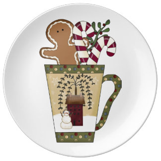 クリスマスのジンジャーブレッド 磁器製 皿
