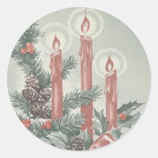 クリスマスのステッカー-出現は蝋燭包み、 ラウンドシール