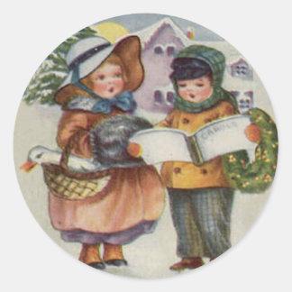 クリスマスのステッカー-子供のキャロルの歌うこと ラウンドシール