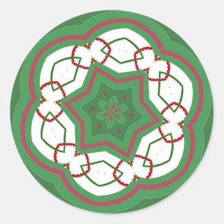 クリスマスのステッチ ラウンドシール