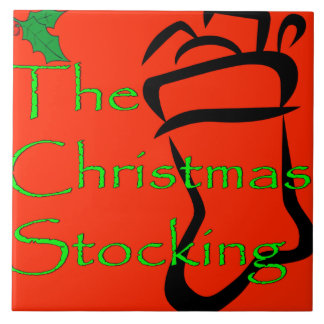 クリスマスのストッキングのロゴのタイルかtrivet タイル