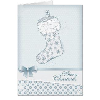 クリスマスのストッキング-氷った青 カード