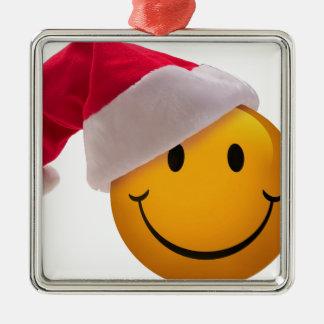 クリスマスのスマイリーフェイス シルバーカラー正方形オーナメント