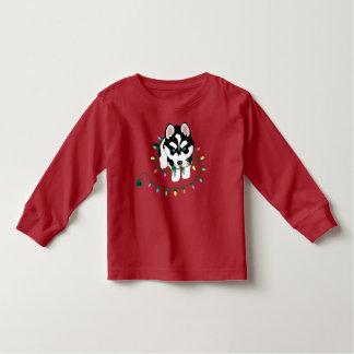 クリスマスのセーターが付いているハスキー トドラーTシャツ