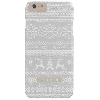 クリスマスのセーターの灰色の公平な島パターンモノグラム BARELY THERE iPhone 6 PLUS ケース
