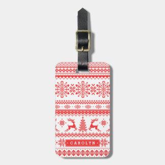 クリスマスのセーターの赤く公平な島パターンモノグラム ラゲッジタグ