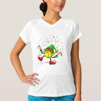 クリスマスのソフトボールの小妖精や小人の踊り Tシャツ