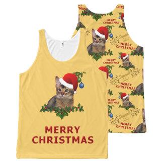クリスマスのソマリ族猫サンタ オールオーバープリントタンクトップ