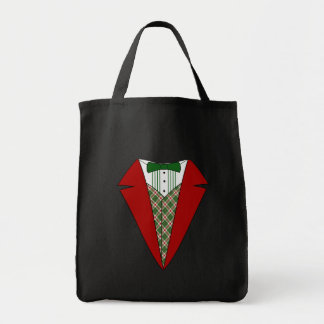 クリスマスのタキシード、赤いおよび緑の小妖精や小人 トートバッグ