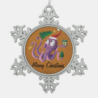 クリスマスのタコ スノーフレークピューターオーナメント