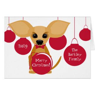 クリスマスのタンのチワワ犬の名前入りな名前 カード