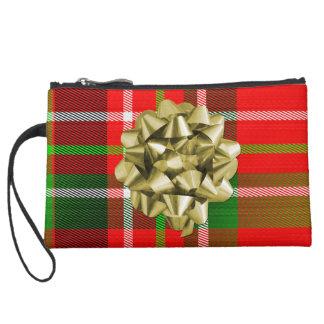 クリスマスのタータンチェックのパターンおよび弓 スエードクラッチ