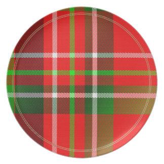 クリスマスのタータンチェックパターン 皿