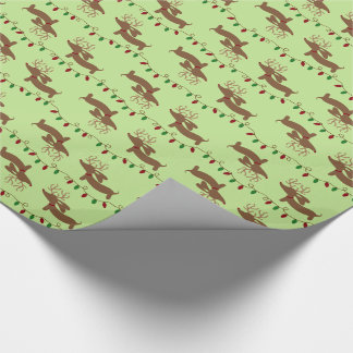クリスマスのダックスフントの包装紙のトナカイ ラッピングペーパー