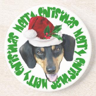 クリスマスのダックスフント犬 コースター