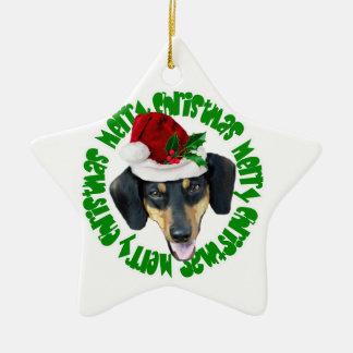 クリスマスのダックスフント犬 セラミックオーナメント