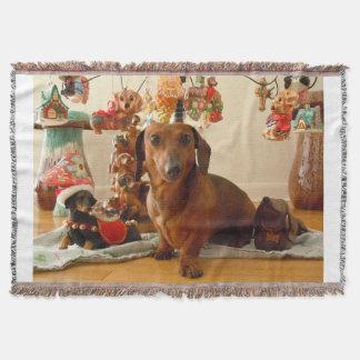 クリスマスのダックスフント(版1) スローブランケット