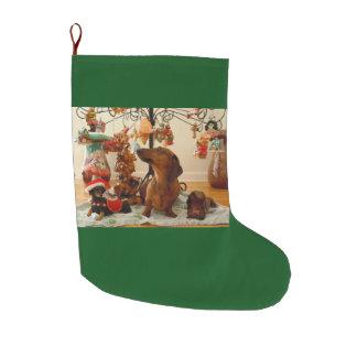 クリスマスのダックスフント(版2) ラージクリスマスストッキング