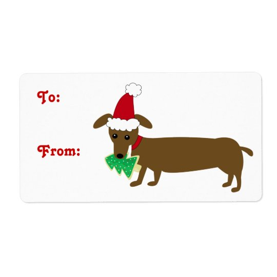 クリスマスのダックスフント 発送ラベル