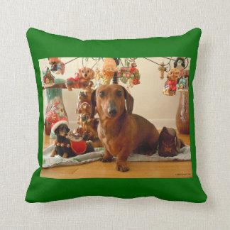クリスマスのダックスフント(Ver。 1)枕 クッション