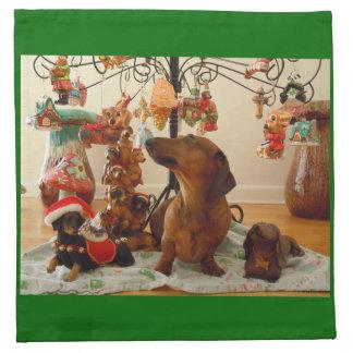 クリスマスのダックスフント(Ver。 2)ナプキン ナプキンクロス