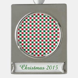 クリスマスのチェッカーボード シルバープレートバナーオーナメント