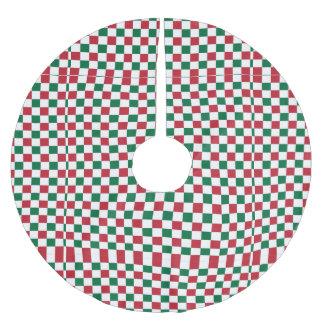 クリスマスのチェッカーボード ブラッシュドポリエステルツリースカート