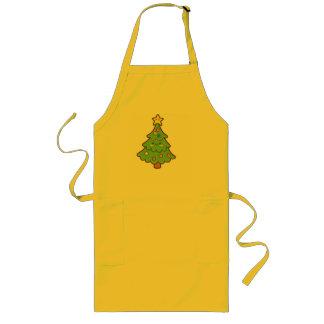 クリスマスのチビ(小さくかわいく書いた感じ)の木のエプロン ロングエプロン