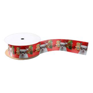 """クリスマスのチワワ犬1.5""""サテンリボン サテンリボン"""