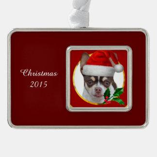 クリスマスのチワワ犬 シルバープレートフレームオーナメント